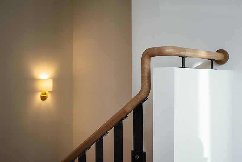 Contemporary timber handrail at Mosspennoch House