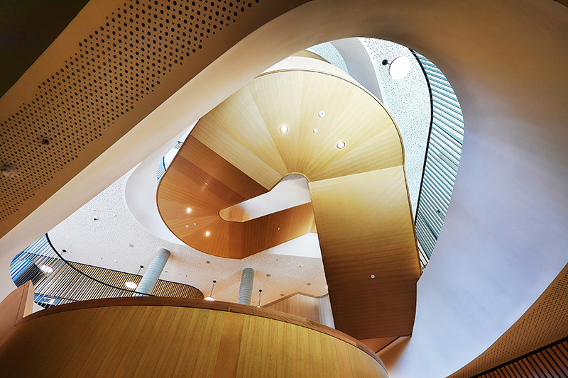 Soffit on the timber clad stairway at the Western Edge Biosciences Building at the University of Melbourne