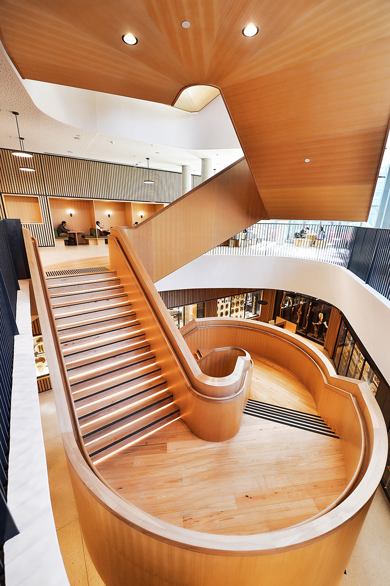 Timber clad stairway landing at the Western Edge Biosciences Building at the University of Melbourne